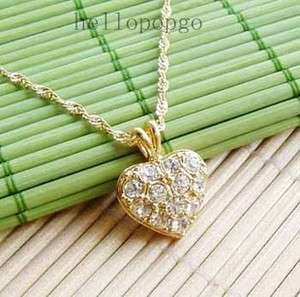 Yellow Gold Gp Swarovski Crystal Plated Heart Unique Necklace