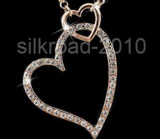 18K ROSE gold GP HEART SWAROVSKI Crystal necklace BB25