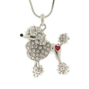 Enamel Collections Clear Crystal Poodle Necklace   29mm Jewelry