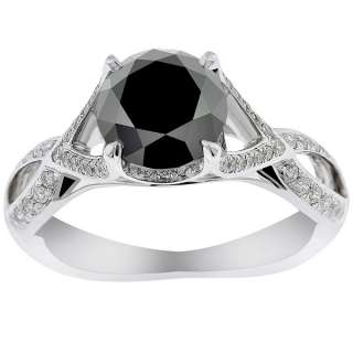 52 Carat Black Diamond Engagement Ring Vintage Style 18K White Gold