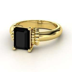 Beluga Ring, Emerald Cut Black Onyx 14K Yellow Gold Ring
