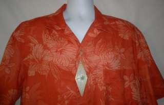 Mens NWT Island Shores Orange Tropical Print Linen Blend Shirt Large