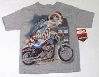 Harley Davidson Boys Captain America T Shirt   Kids Motorcycle Marvel