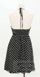 Alice & Olivia Black & White Polka Dot Silk Halter Dress Size Medium