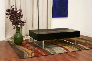 ModerN Neysa BLACK coffee TABLE w/ storage compartments