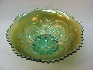 ANTIQUE CARNIVAL GLASS~IMPERIAL SCROLL EMBOSSED BOWL