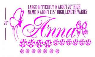 PERSONALIZED BUTTERFLIES NAME VINYL WALL DECAL sticker wall art decor