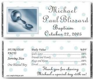 Boys Baptism Christening candy bar wrappers favors