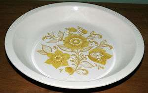 Vintage Ceramic Pie Plate Yellow Flowers Stamped USA