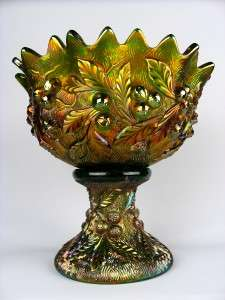 ACORN BURRS by NORTHWOOD ~ LOVELY GREEN CARNIVAL GLASS PUNCH BOWL