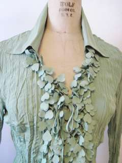 Violet & Claire Dusty Green Ruffled Crinkle Poly Vee Neck Button Shirt