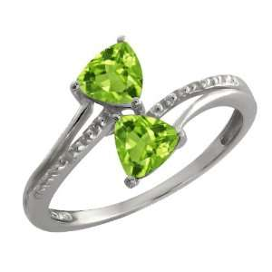 Genuine Trillion Green Peridot Gemstone Argentium Silver Ring Jewelry