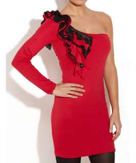 Red (Red) Papersun One Shoulder Ruffle Detail Dress  237564260  New