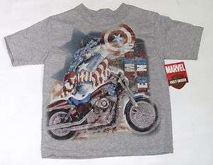 Harley Davidson Toddler Boy Captain America T Shirt   Marvel Short