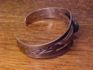1930 NAVAJO NATIVE AMERICAN INDIAN SILVER & TURQUOISE BRACELET MARKED