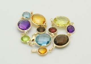 Gold Fancy Cut Oval&Round Multi Colored Gemstones Bracelet 7 1/2 New