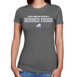 NCAA TCU Horned Frogs Ladies Charcoal University Name Slim