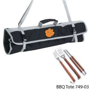 Clemson University Printed 3 Piece BBQ Tote BBQ set Black