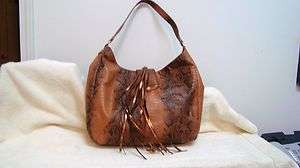 IMAN Global Chic Classic Couture Python Embossed Luxury Handbag brown