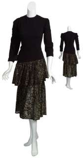 ST. JOHN EVENING Refined Metallic Gold Brocade Tiered Evening Dress $