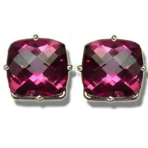 8mm Checkerboard Mystic Pink Topaz White Gold Earring Jewelry