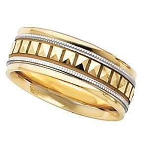 7.75mm Two Tone Design Band (14K Yellow/White Gold, 8