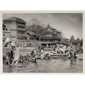 1928 Bathers Bathing Ghat Godavari River Nasik India