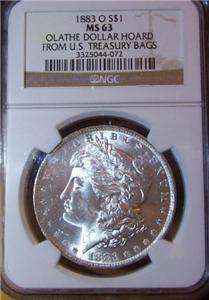 1883 O Morgan Silver Dollar NGC MS 63 Olathe Hoard Collection US