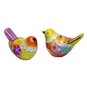 Bright Orange/Yellow Flower Design Bird Figures   Set of 2