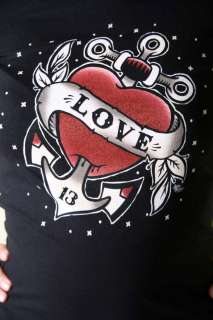 LUCKY 13 Love Anchor Tattoo Anker Rockabilly T shirt