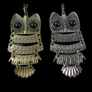 Fashion Bronze Silver Cute Owl With Big Eye Pendant Necklace
