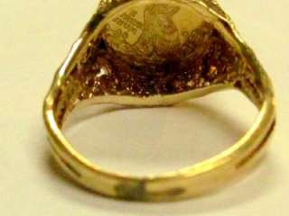 INDIAN HEAD SOLID GOLD COIN RING