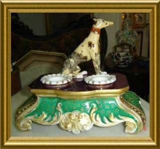 LARGE FRENCH OLD PARIS PORCELAIN INKWELL WITH DOG RARE |