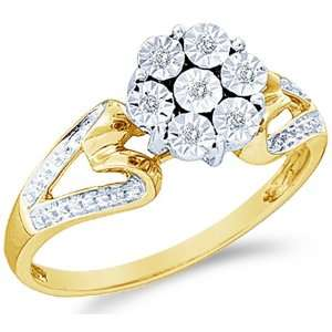 Size   6   10k White and Yellow Two 2 Tone Gold Heart Shape Sides Pave