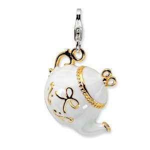 Sterling Silver Gold Plated 3D Pot Charm with Lobster Clasp Jewelry