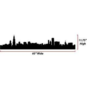 Chicago Skyline Silhouette  Large  Vinyl Wall Decal
