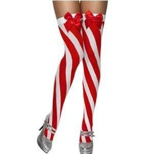 Candy Stripe Thigh High Stockings, Red and White (33136