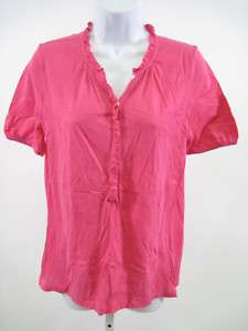 CREW Pink Ruffle Trim Short Sleeve Shirt Top Size S