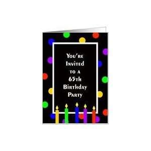 65th Birthday Party Invitation Card    Bright Polka Dots