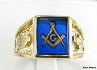 MASONIC Blue Stone Symbol RING   10k Solid Gold Square Compass 9.3g