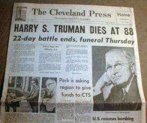 1972 newspaper hdlne w DEATH of President HARRY TRUMAN