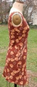 EUC Max Studio Brown Orange Leaf Print Pleat Trim Shift Dress Size XS
