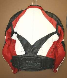 MENS TEKNIC PADDED BIKER/MOTORCYCLE LEATHER JACKET 52