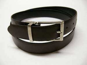 New Mens Black/Brown Reversible Dress Leather Belt E1