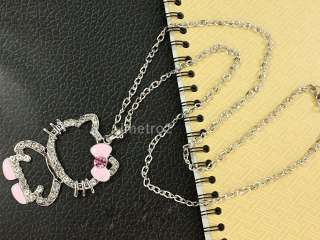 2x pink white hello kitty Friends Friendship chain necklace swarovski