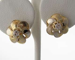 Estate Genuine Diamonds Solid 14k Gold Flower Earrings
