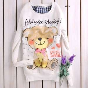 Girls Cute Smily Bear Cartoon Cotton white top sweatshirt US normal