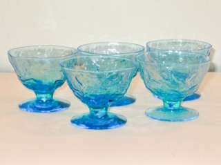 SET 5 Crinkle Glass Seneca Driftwood Casual PEACOCK BLUE Footed Bowls