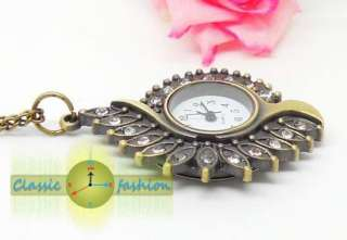 Retro style Peacock drill Pendant Necklace Quartz Pocket Watch Xmas