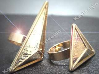 Art Deco 3D Triangle Spike Body Double 2 Finger Ring Costume Fancy